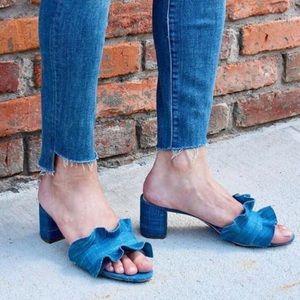 Loeffler Randall Vera Ruffle Denim Slide Sandal